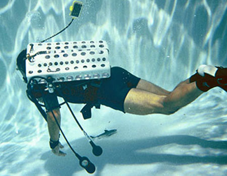 Supercritical underwater breathing apparatus under test.